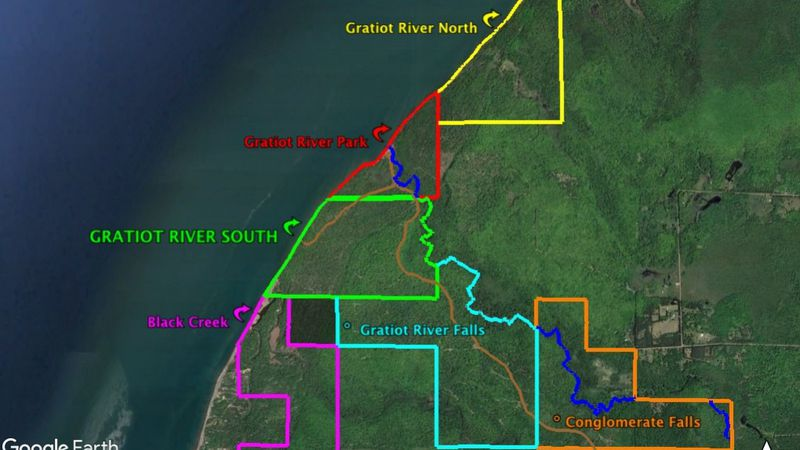 Outlined are the areas of interest. Courtesy of the Keweenaw Natural Areas conservation group.