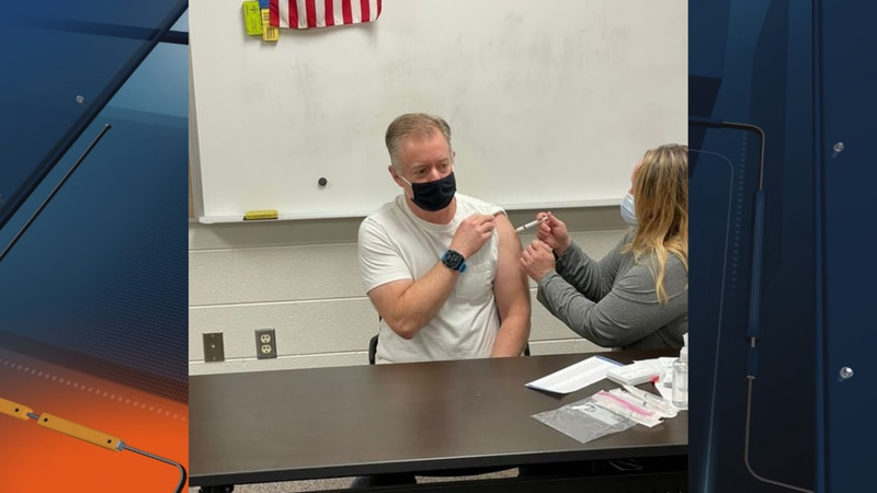Norway-Vulcan Area Schools Superintendent Lou Steigerwald receiving his first COVID-19 vaccine...