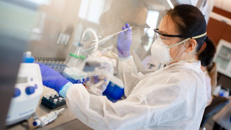 Momoko Tajiri performs RNA extraction for a batch of patient samples in the MTU COVID-19...