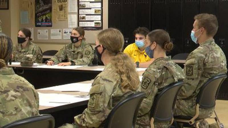NMU ROTC cadets in class.