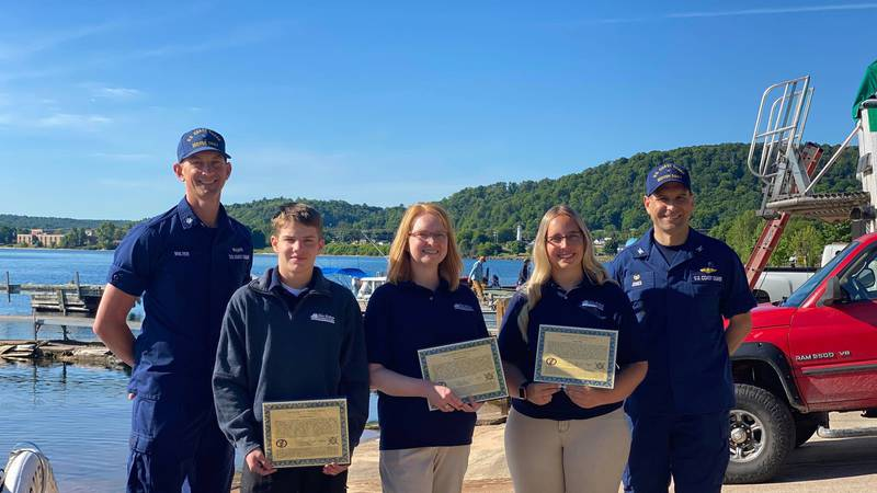 All three crew members received the award Wednesday morning