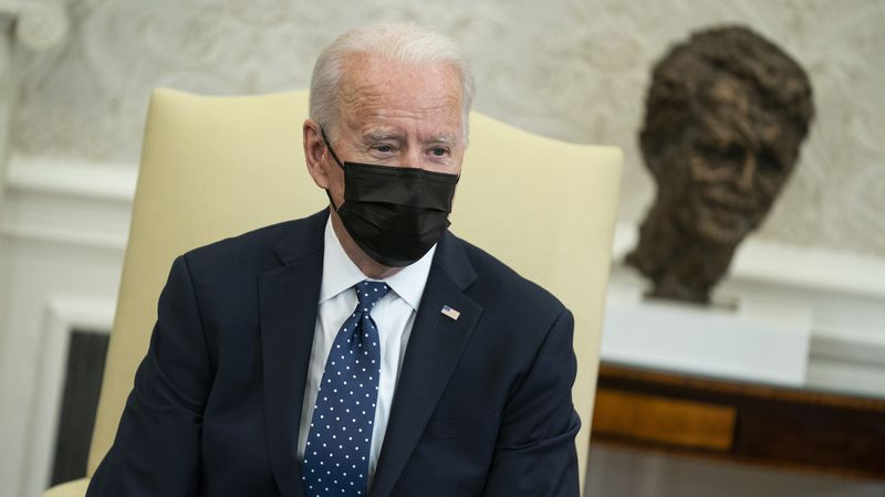 President Joe Biden speaks during a meeting with members of the Congressional Hispanic Caucus,...