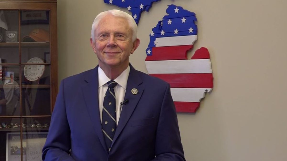 FILE. Congressman Jack Bergman (R-MI) as seen in his U.S. House office.