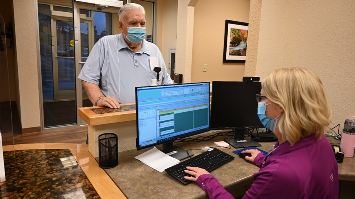 Gary LaPlant was the first veteran to check in to an appointment at the new Gladstone...
