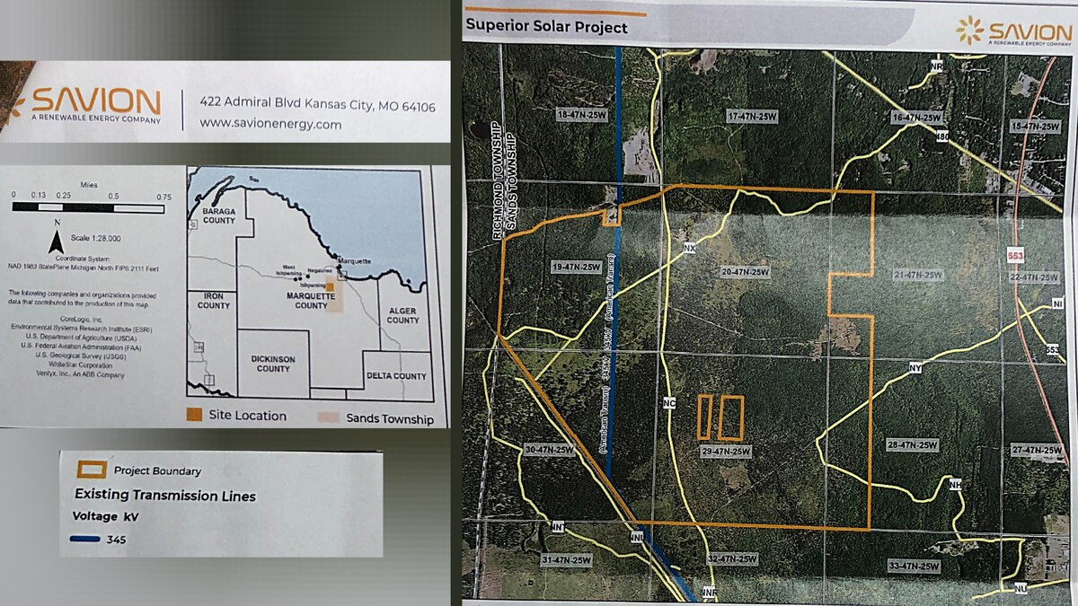 "Mapping images of Savion, LLC's proposal for the ""Superior Solar Farm"" in Sands Township."