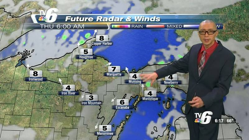 Increasing clouds Thursday with a chance of showers south into the late afternoon and early...