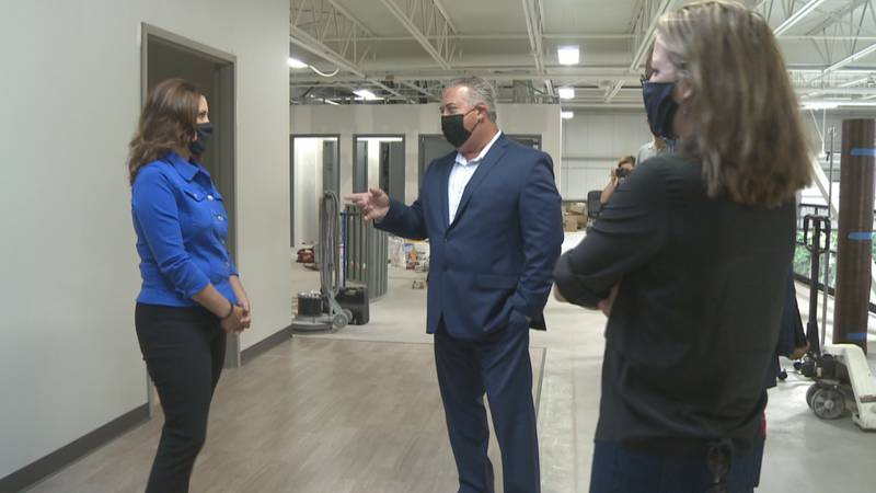 Governor Whitmer and Secretary of State Benson tour the facility.