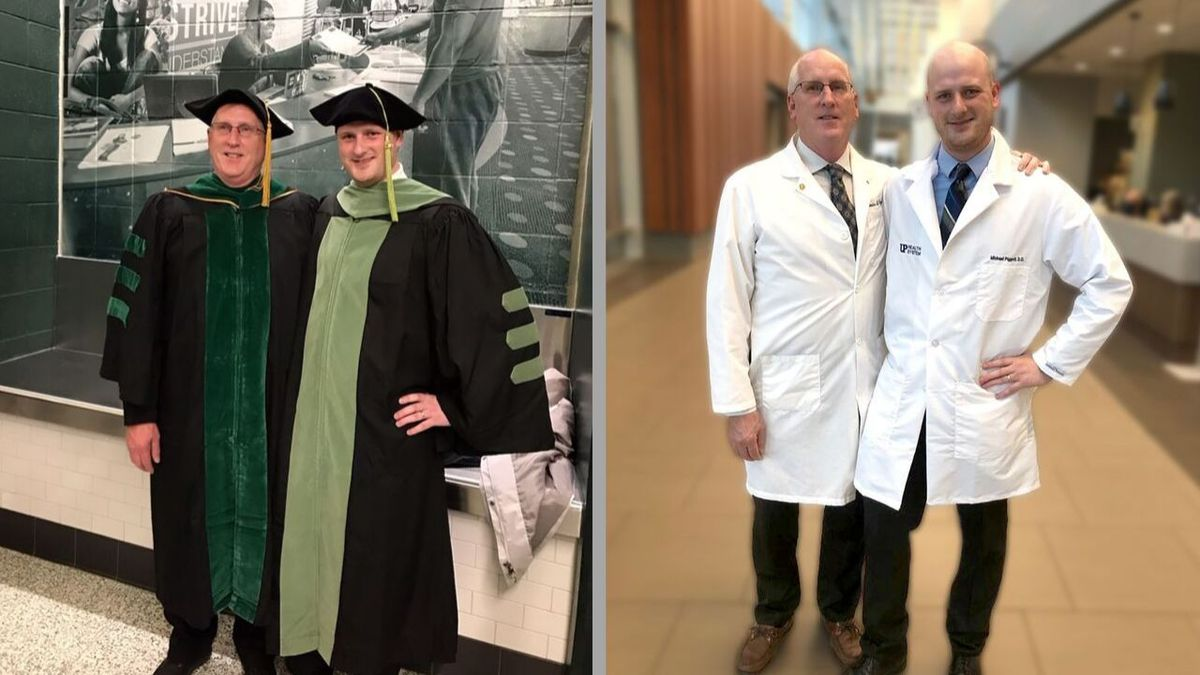 For the first time in the Marquette Family Medicine Residency Program's history, a son of an alumnus followed in his father's footsteps. Dr. Kevin Piggott, father, and Dr. Michael Piggott, son, pictured at Michigan State University and at UP Health System-Marquette. (Marquette Family Medicine Residency Program photos)