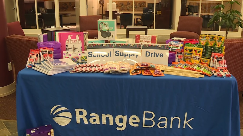 A school supply drive hosted by Range Bank