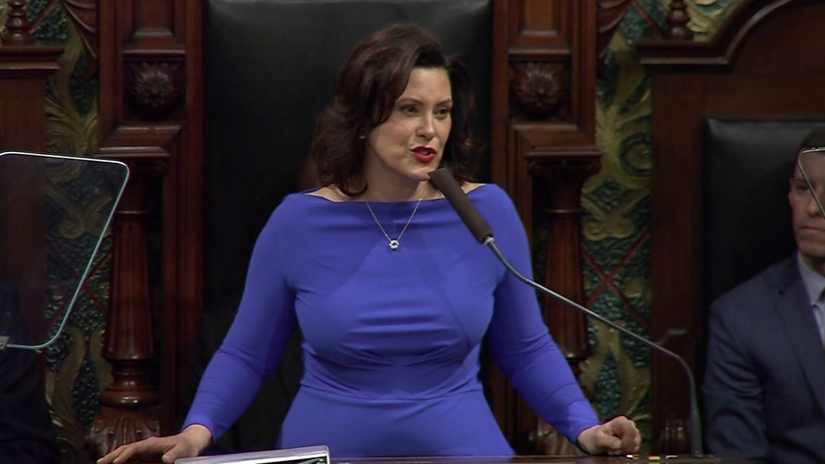 Gov. Gretchen Whitmer delivers her 2019 State of the State Address (WLUC image).