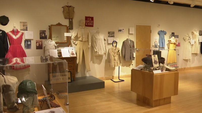 An exhibit about historic clothing in Upper Michigan.