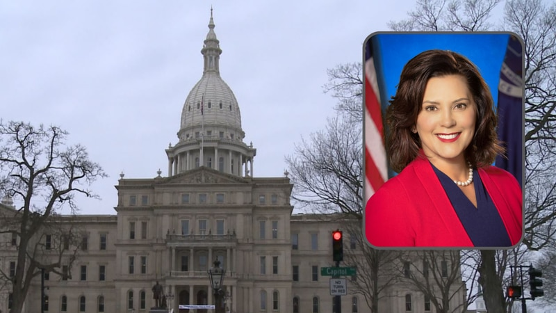 The Michigan Capitol and Gov. Gretchen Whitmer.