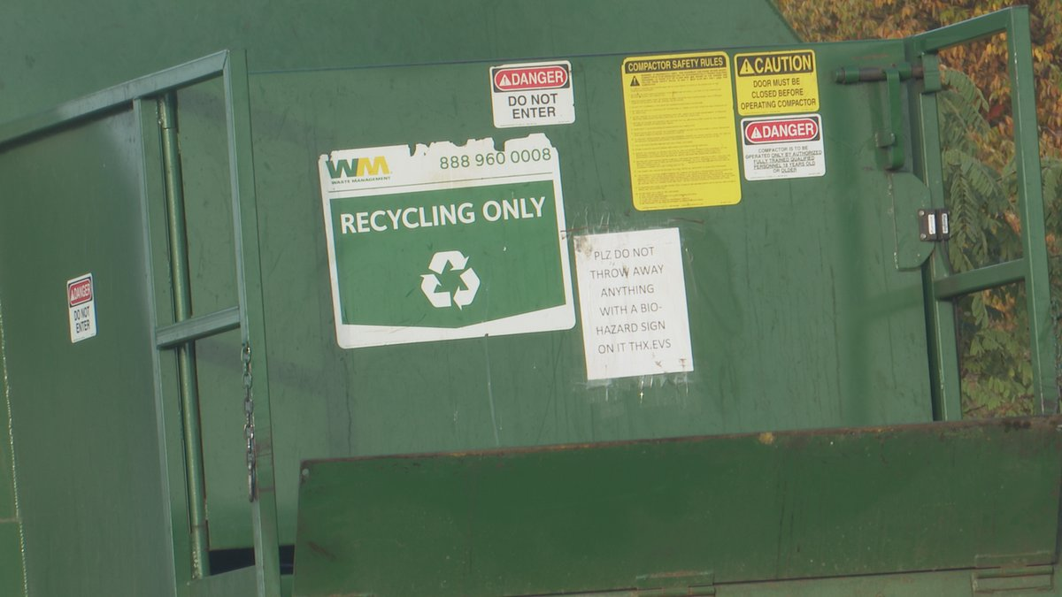 A recycling truck leaving the Recycle 906 facility.