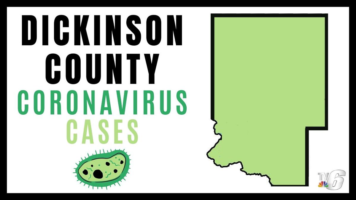 Dickinson County coronavirus cases (Michigan DNR map with WLUC edits in Canva)