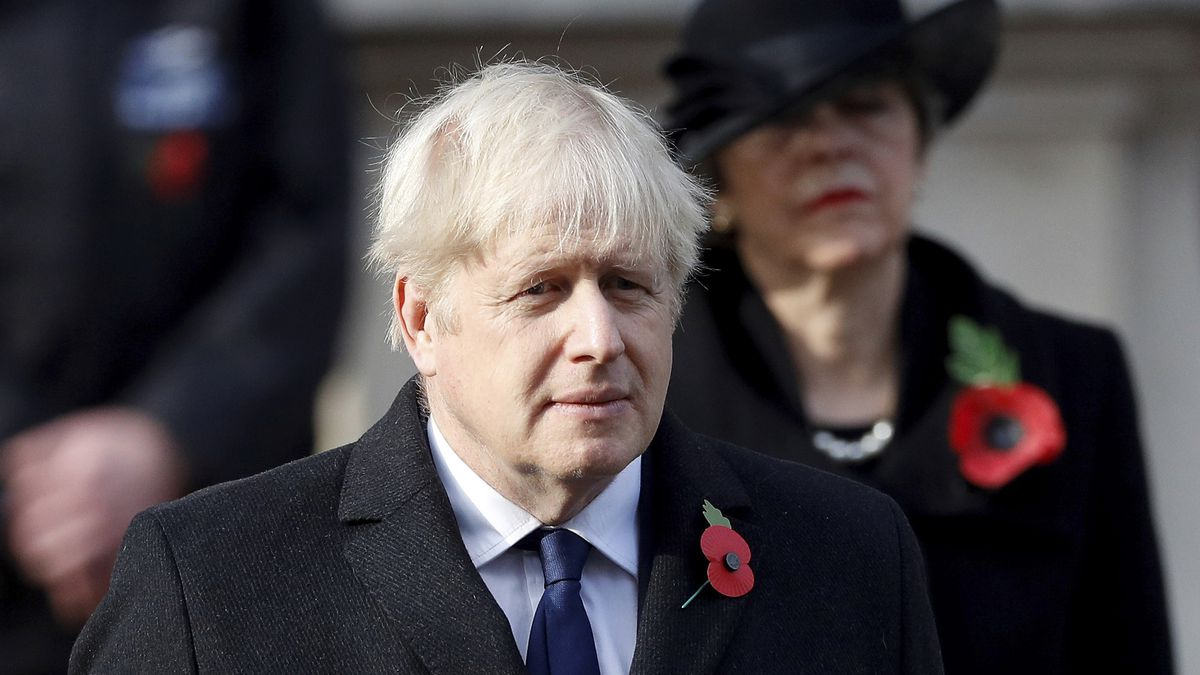 Britain's Boris Johnson attends the Remembrance Sunday service at the Cenotaph, in Whitehall,...