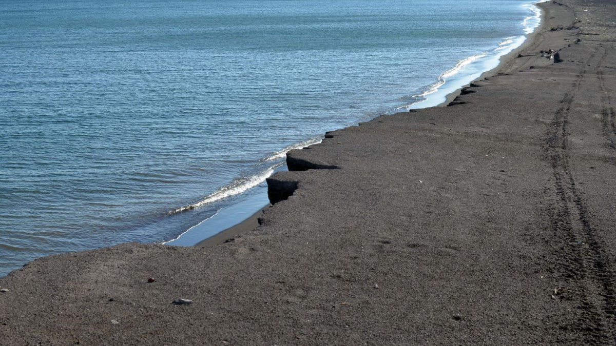 The coastline along Lake Superior at Gay is covered with a thick layer of stamp sands, which...