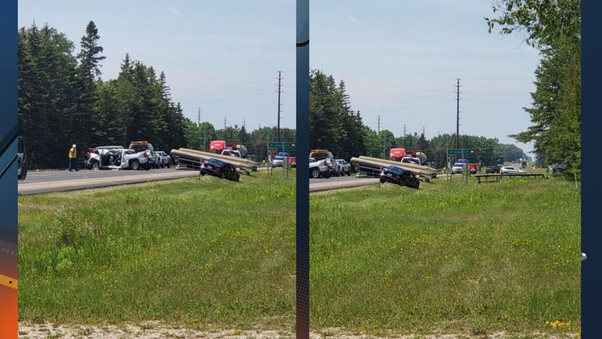 (Viewer photos of crash on US-2 near Gould City on June 29, 2020)