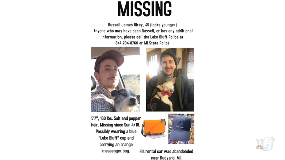 Missing person flyer for Russell James Ulrey.