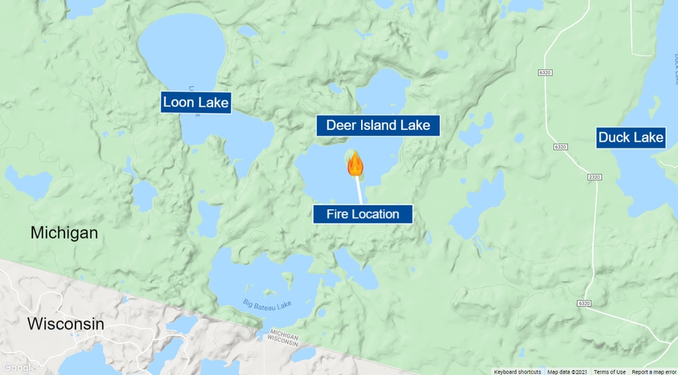 Fire location at Deer Island Lake in the Ottawa National Forest's Sylvania Wilderness.