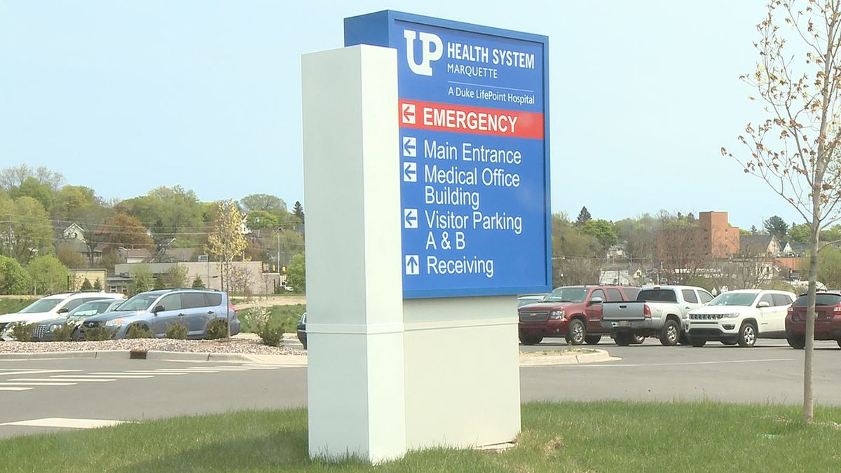 FILE. Sign outside of the UPHS-Marquette hospital.