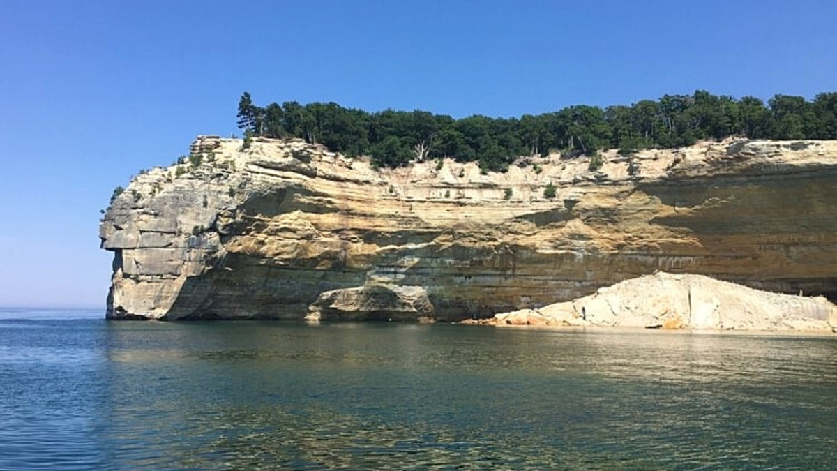 Pictured Rocks National Lakeshore as seen by boat on Lake Superior.