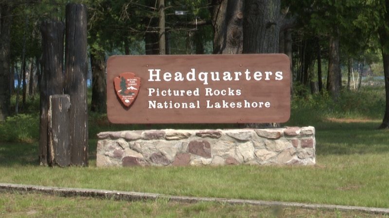 Pictured Rocks National Lakeshore sign.