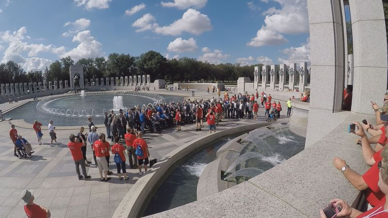 FILE. 85 veterans on Mission XVII of the Upper Peninsula Honor Flight at the World War II...