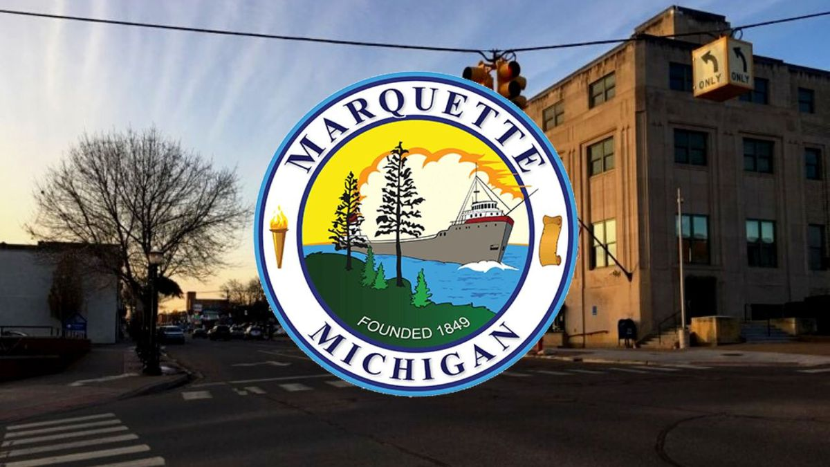 (Marquette City seal on WLUC Photo)