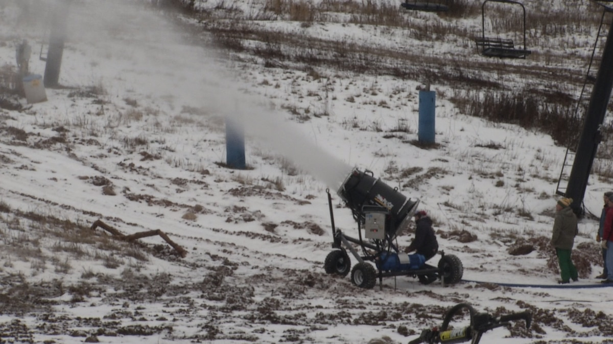 One of the snow guns at Marquette Mountain
