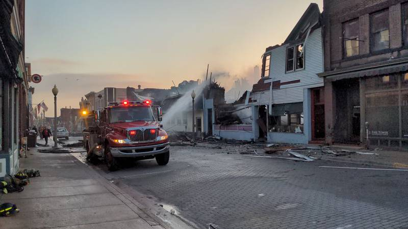 A viewer photo taken after sunrise shows the devastation on the 100 block of S. 5th St. in...