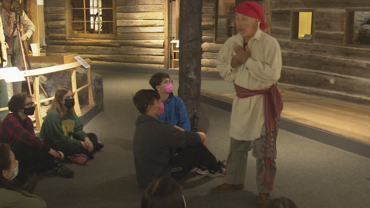 A costumed French Voyager demonstrated what life was like for the French.