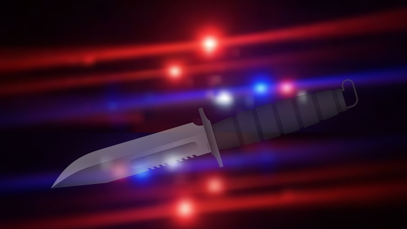 Stabbing and police lights graphic.