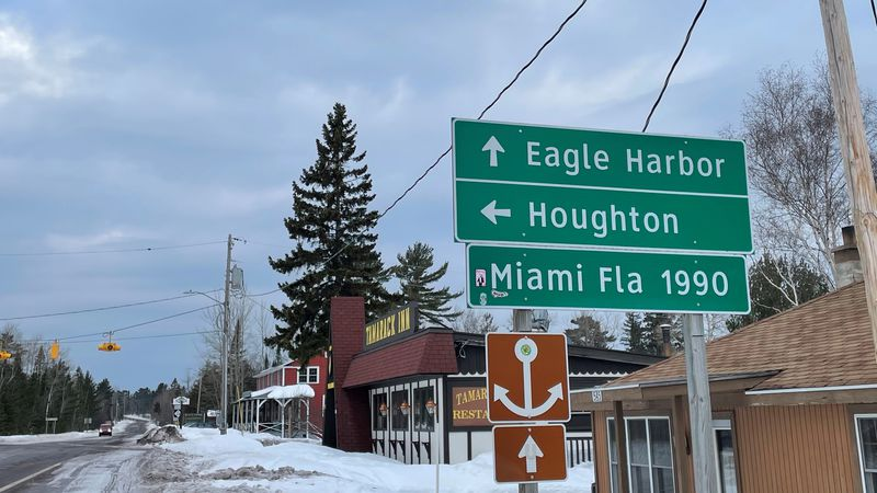 The famous sign that points to Miami from Copper Harbor. Not a far drive, right?