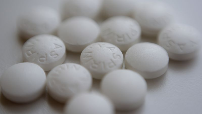 FILE - This Aug. 23, 2018 file photo shows an arrangement of aspirin pills in New York. A large...