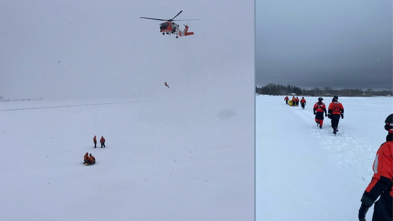 U.S. Coast Guard images from a Lime Island ice rescue training mission.