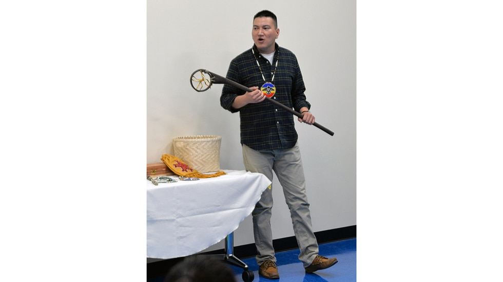 """Marcus Winchester, director of language and culture with the Pokagon Band of Potawatomi, discusses traditional skills during a 2016 """"Rock Your Mocs"""" program."""