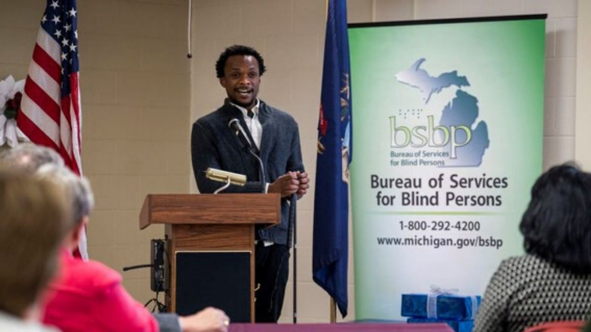 Rashid Deme, former Bureau of Services for Blind Persons Training Center participant gives remarks at their 50th Anniversary celebration.  (Bureau of Services for Blind Persons Photo)