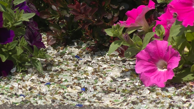 Recycled Glass in flowerbed in Negaunee Township