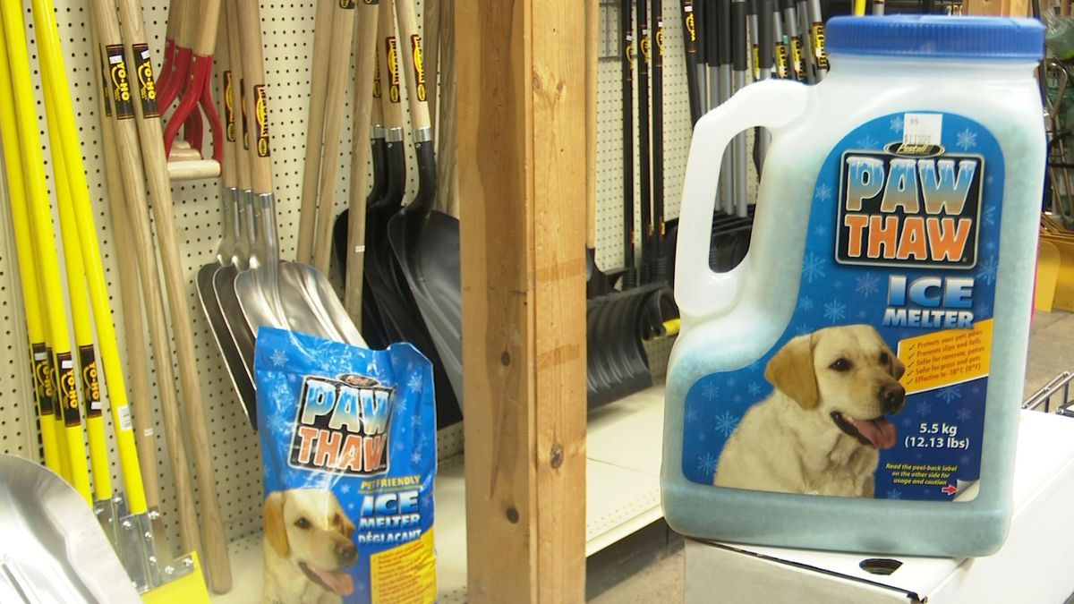 Mares-Z-Doats in Marquette offers an alternative ice melt product called Paw Thaw. It uses biodegradable products that are safe for animals. (WLUC Photo)