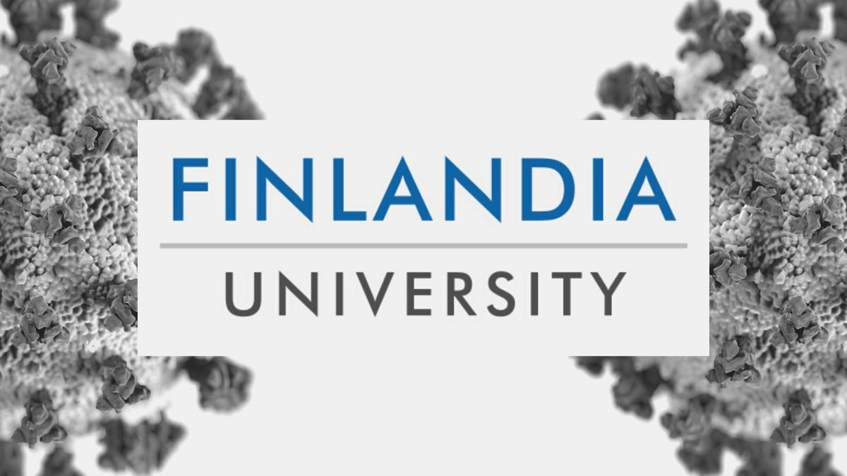 Finlandia University logo and COVID-19 graphic.