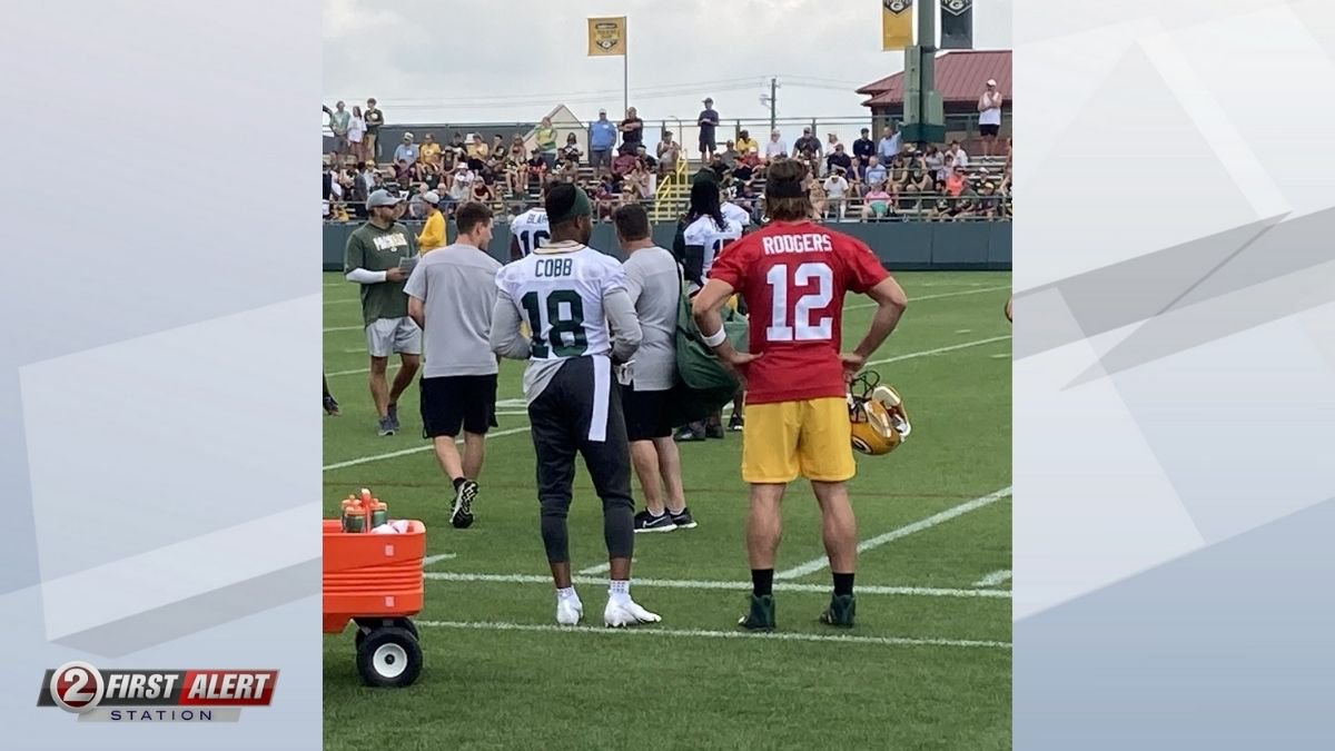 Randall Cobb and Aaron Rodgers. July 29, 2021.