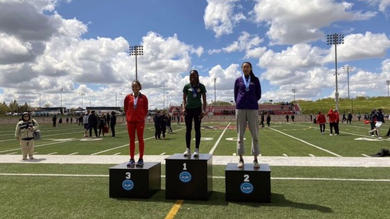 NMU's Selena Johnson wins the Triple Jump at the GLIAC Outdoor Championships.
