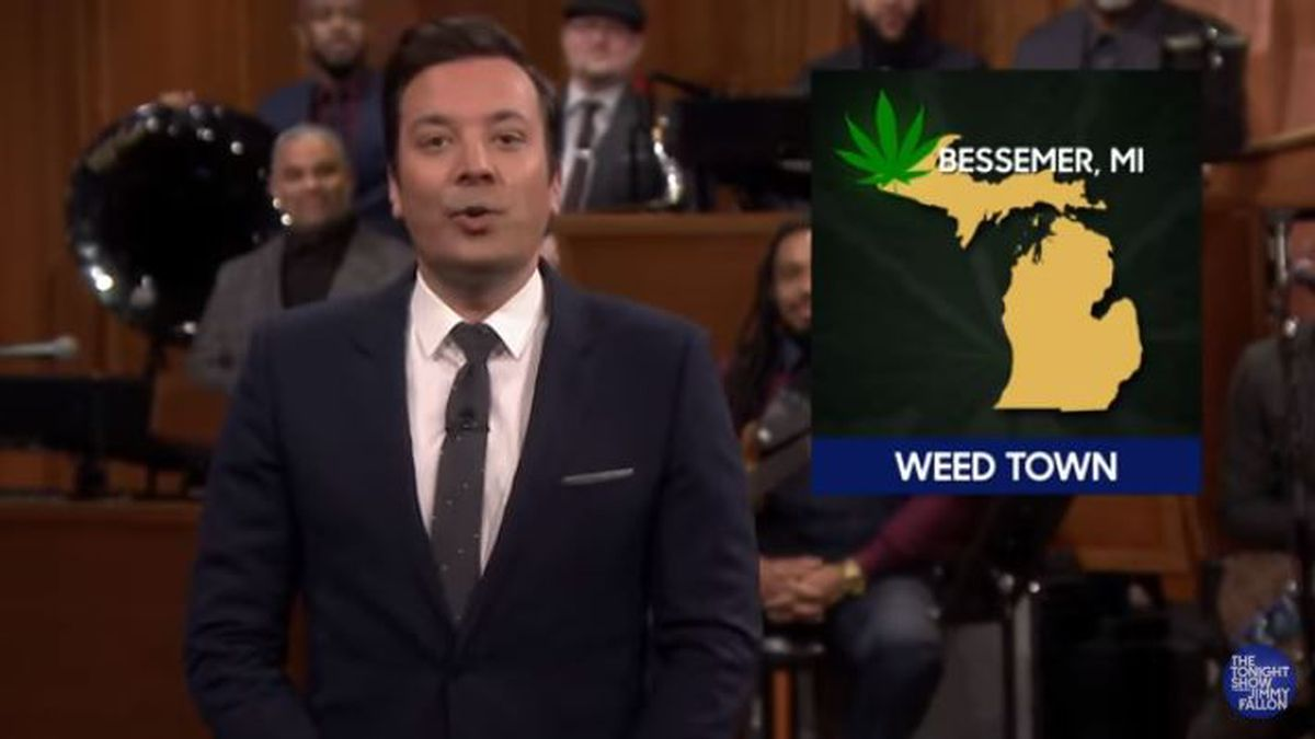 """Jimmy Fallon jokes that Bessemer, Michigan, is """"Weed Town, U.S.A."""" during his News Smash segment on the Wednesday, Jan. 15, 2020, episode of """"The Tonight Show Starring Jimmy Fallon."""" (The Tonight Show Starring Jimmy Fallon Image)"""