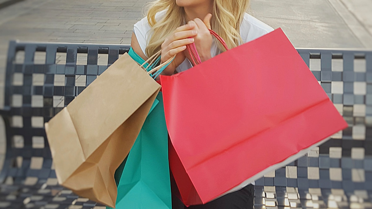 Holiday shopping bags.