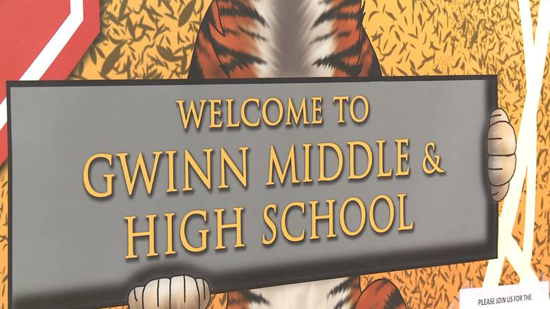 FILE. A sign at Gwinn Middle & High School.