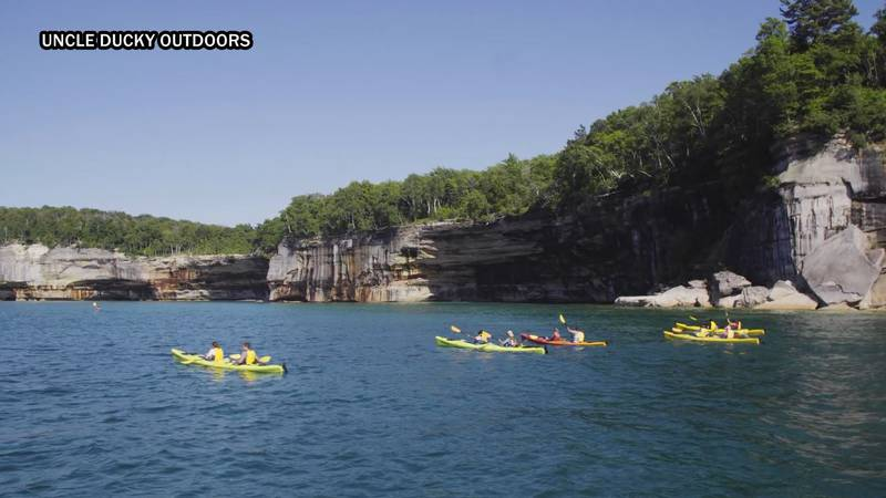 Pictured Rocks kayak tours presented by Uncle Ducky Outdoors.
