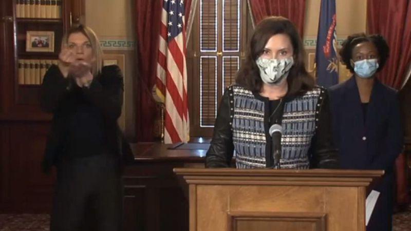 Gov. Gretchen Whitmer gives a press conference on coronavirus in Michigan.