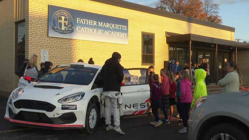 Lake Superior Performance Rally racer at Father Marquette Catholic Academy.