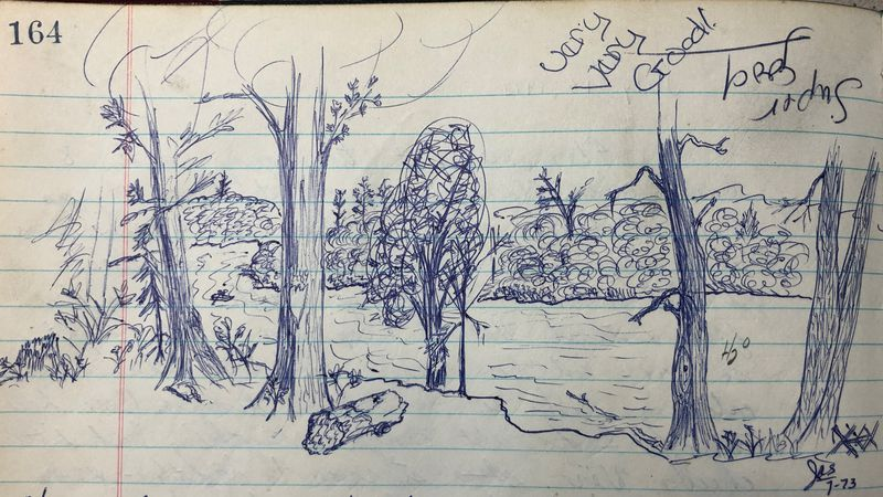 A 1973 landscape drawing contributed to the Mirror Lake Eight-bunk Cabin logbook at Porcupine...