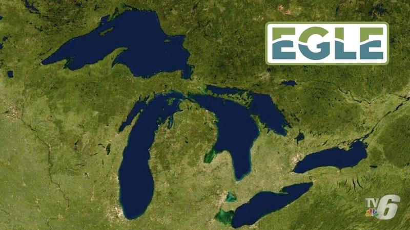TV6 Michigan map graphic with EGLE logo overlaid.